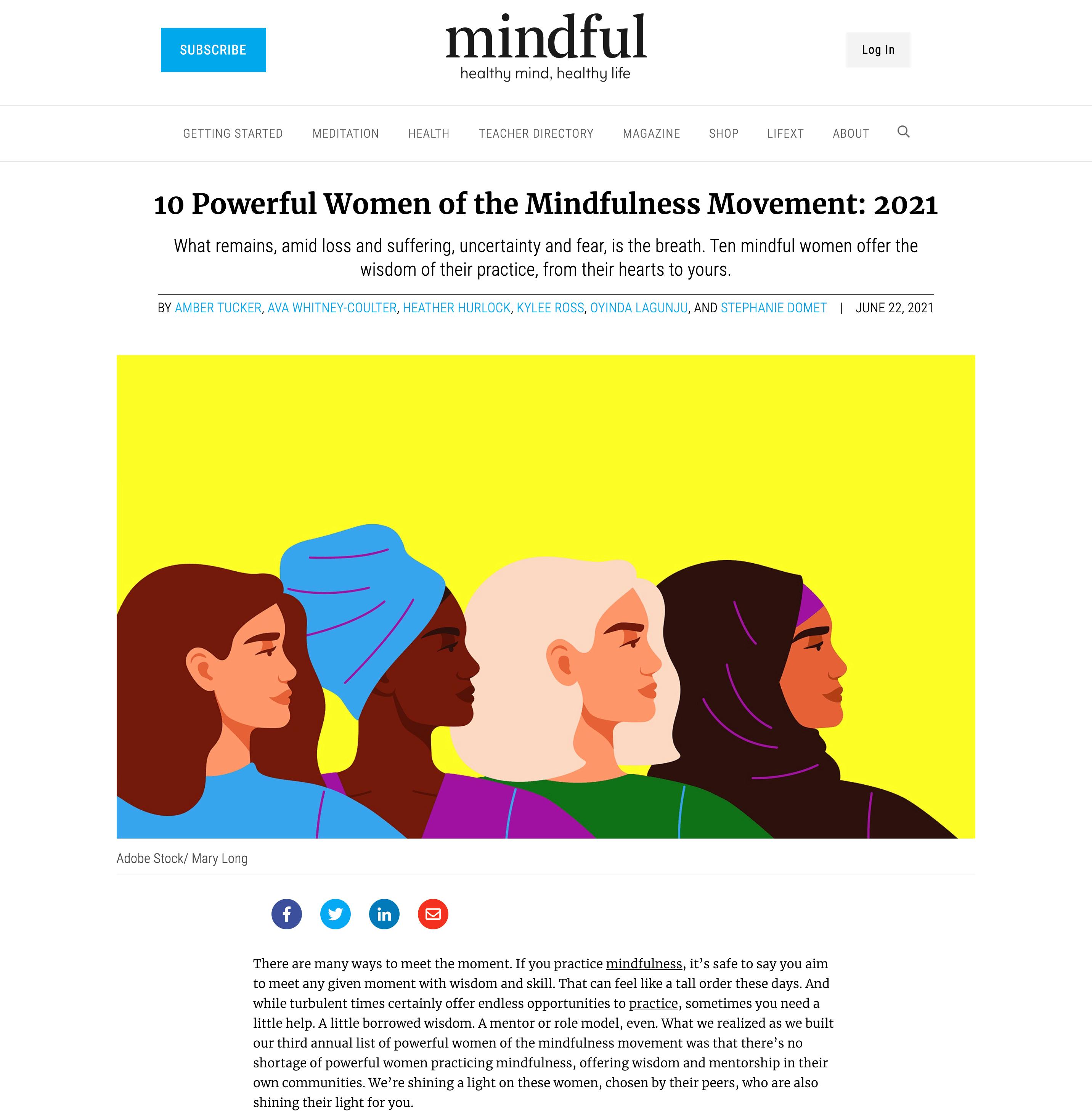 Ten Powerful Women of the Mindfulness Movement 2021. Mindful Magazine. 6222021